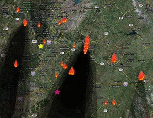Map of Central Texas fires