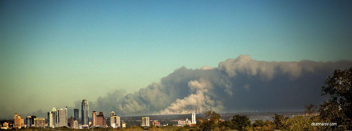 Central Texas Fire over Austin Skyline